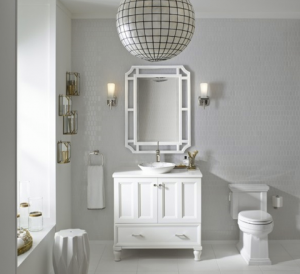 All-white bathroom with decor